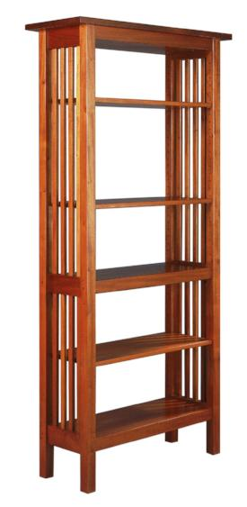 Crofters Bookcase in Mahogany with open back and slats in the sides, available in various sizes, made by hand with solid wood