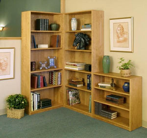 Basic Bookcase in Natural Cherry by Hardwood Artisans is shown with added tall & short bookcase pairs nicely in any setting