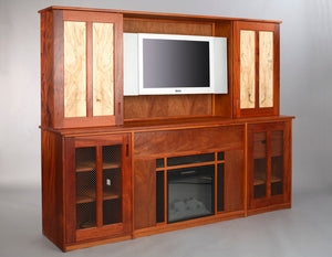 Custom TV / Fire Place in Mahogany with Spaulted Maple