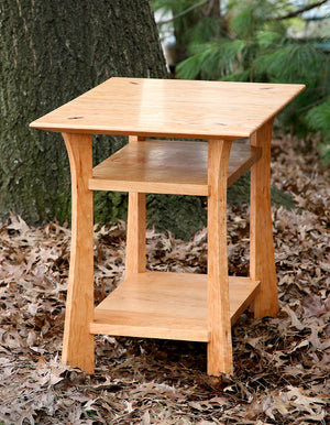 Waterfall End Table, square shape in Natural Cherry wood w/ lower shelves, accents living room furniture spaces near Aldie VA