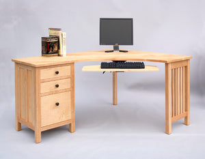 Little Corner Desk with File Cabinet on Left in Maple with Custom Handles