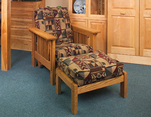 Low Back Chair in 1/4-Sawn White Oak with Colonial Maple Stain with Crofters Arms