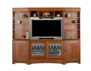 Custom Artisan Entertainment Library in 1/4-Sawn White Oak with English Oak stain and custom art glass by Hardwood Artisans