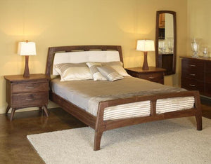 Linnaea Bed with Fabric Headboard in Walnut
