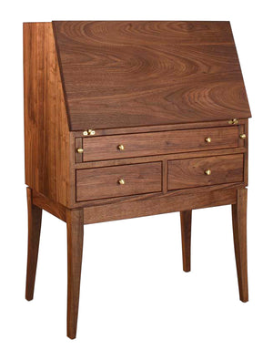 Simply Beautiful Secretary Desk shown in Walnut w/ top closed handmade using Amish joinery techniques by Hardwood Artisans