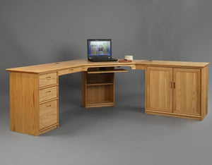 Custom Office Designs - L-shaped Executive Corner Desk in Red Oak by Hardwood Artisans furniture near Rappahannock County VA