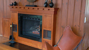 Fireplace Mantel in Cherry a Custom Designed Built-in Solution by Hardwood Artisans in Virginia, Maryland, and Washington DC