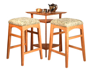 Waterfall Corner Table w/ Artisan Stools in Natural Cherry, great for small spaces, custom made furniture near Hamilton, VA