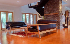Linnaea Sofa shown w/ Coffee Table in Natural Cherry quality furniture set / suite handmade by Hardwood Artisans in Virginia