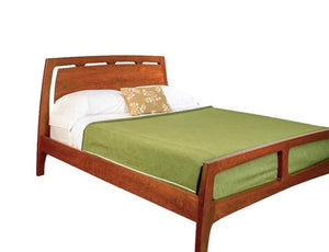 Linnaea Bed with Wood Headboard in Cherry with Mahogany Wash