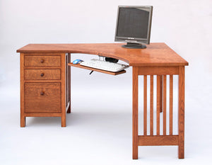 Craftsman Little Corner Desk w/ keyboard tray & file cabinet on left/right - school student computer office kid's furniture
