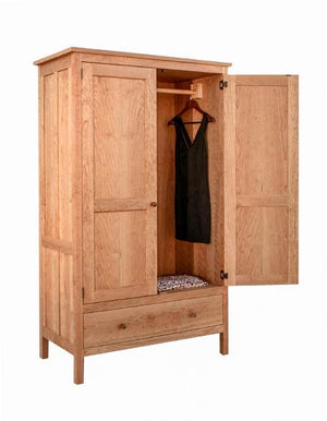 Craftsman 1-Drawer Armoire in Natural Cherry, natural wooden bedroom furniture for clothing storage handmade near Boyds MD