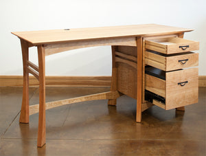 Waterfall Desk custom heirloom quality, sustainable, executive or home office furniture handcrafted in natural hardwoods