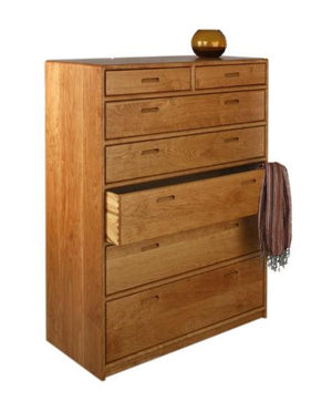 Contemporary 5-Drawer Chest Dresser available in assorted hardwoods displays a modern bedroom furniture by Hardwood Artisans