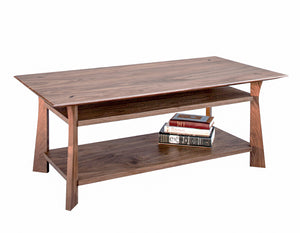 Waterfall Coffee Table in Walnut shows Rectangle solid Living Room Furniture custom made at Hardwood Artisans near Arlington