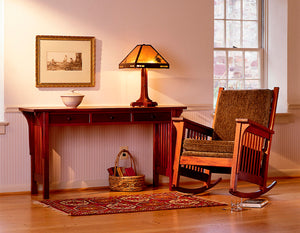 Parlor Hall Table customized without lower shelf shown w/ Bungalow Rocker in Mahogany in Virginia, Maryland and Washington DC