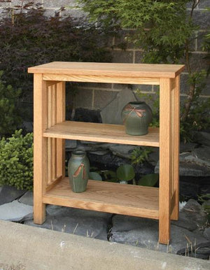 Crofters Bookcase in Red Oak is handmade using Amish joinery techniques to create heirloom quality furniture for living areas