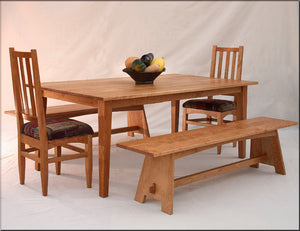 Large Shaker Table with Hampton Chairs and Nantucket Benches in Natural Cherry are made using natural North American hardwood