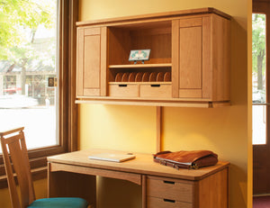 Susan Desk & Susan Hutch office furniture in assorted solid hardwoods is Made in America, Made in Virginia, Made in the USA