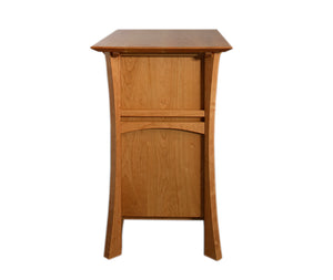 Waterfall Cabinet in Natural Cherry showing side view detail of custom creative heirloom quality design using solid hardwood
