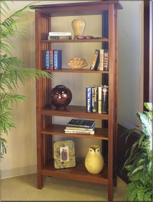 Crofters Bookcase in Mahogany pairs well in any living space, handmade by bespoke furniture maker Hardwood Artisans, Virginia