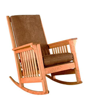 Tall Back Bungalow Rocker in Natural Cherry Made in America by Hardwood Artisans in Virginia near Maryland and Washington DC