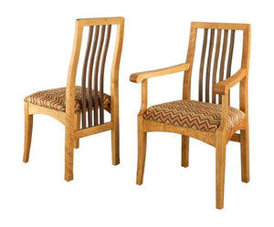 Century Arm and Side Chairs in Naural Cherry with Walnut Slats