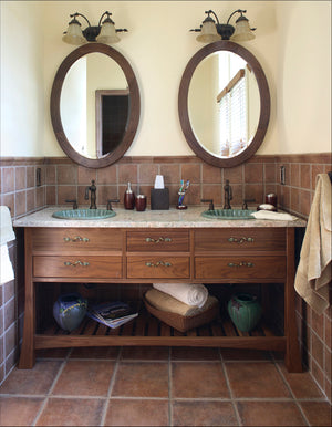 Oval Mirror shown w/ Hardwood Artisans Custom Bathroom Vanity in Walnut is Made to Order sustainable wall decor near Vienna