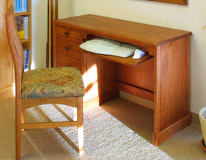 Small Shaker Desk in Mahogany with Custom Handles and Custom Chair in Natural Cherry