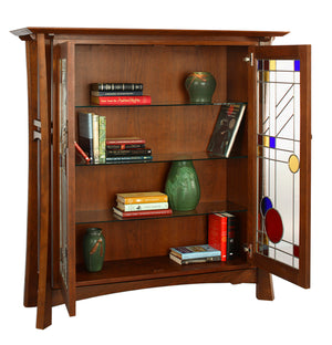 Waterfall Library handmade residential/commercial furniture shown w/ 3 glass shelves for collections display near West End DC