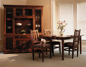 Small Shaker Table shown with Hampton Chairs and Custom Dining Hutch in Walnut luxurious heirloom furniture near West End DC