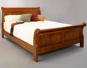 Custom made bedroom furniture featuring Custom Sleigh Bed in Cherry with Americana Stain by Hardwood Artisans near Manassas