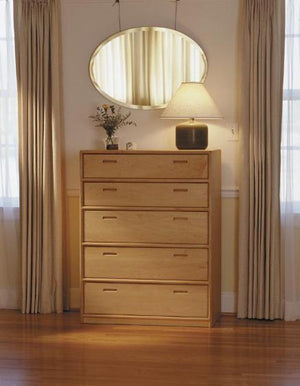 Contemporary 5-Drawer Chest Dresser shown in home setting displays a modern style quality made to last bedroom furniture item