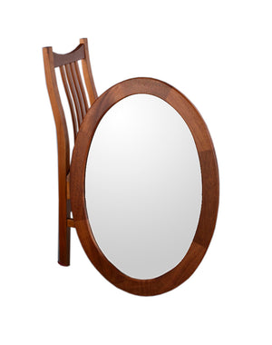 Oval Mirror is American made in mahogany, walnut, birch, maple, cherry, curly maple, red or 1/4-sawn white oak hardwoods