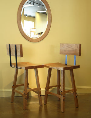 Shinto Counter Height Stool w/ Back shown w/ Oval Mirror in Natural Cherry furniture in Virginia, Maryland & Washington DC