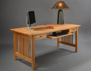 Mission Table Desk in Red Oak featuring large area work station furniture for executive or home office by Hardwood Artisans