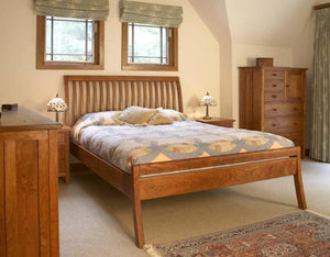 Artisan Sleigh Bed with Curved Legs with Craftsman Armoire and Craftsman Nightstands in Natural Cherry