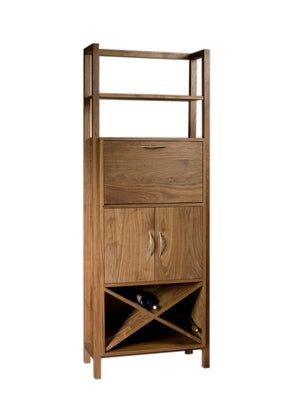 Modern Wine Tower in Walnut with closed door
