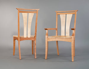 Waterfall Dining Chair, Featuring tapered curved legs, side or arm chair with wood or upholstery seat at Hardwood Artisans VA