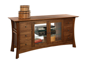 Waterfall TV Console features an Asian Arts & Crafts influenced home or office furniture handmade by Hardwood Artisans in VA