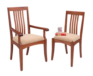 Middleburg Chair shown as side or arm chair in Mahogany with wood or upholstery seat for dining room, hallway, parlor seating