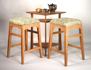Artisan Bar Height Stools in Natural Cherry with Waterfall Corner Table in Mahogany.