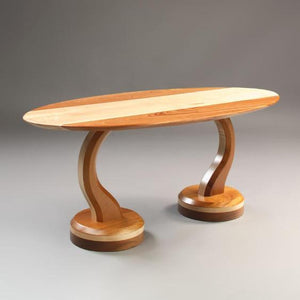 Gemini Coffee Table displays two end tables that lock together to form a Mid Century Modern style living room furniture piece