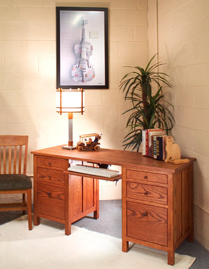 Craftsman Jefferson Desk w/ keyboard tray or pencil drawer is designed for storage and space - Home Desks near Gathersburg MD