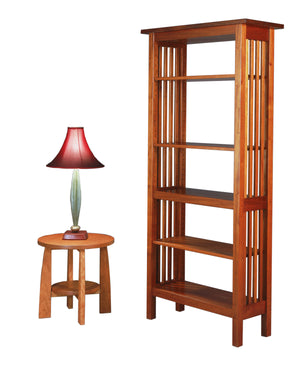 Crofters Bookcase in Mahogany with open back and slatted sides, in various sizes, made by hand in Virginia near Rappahannock