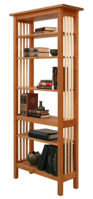 Crofters Bookcase with open back and slatted sides, furniture pairs well in any living space, handmade near Henrico County