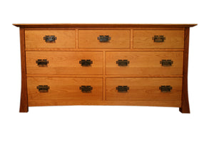 Glasgow Grand Mesa Dresser displays solid hardwood bedroom furniture design made by Hardwood Artisans in Culpeper County