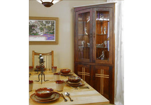 Highland Corner Cabinet shown demonstrating the perfect handcrafted design that complements your dining room decor and spaces