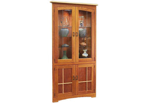 Highland Corner Cabinet offers heirloom quality storage for family china or collectibles and back lighting for limited spaces