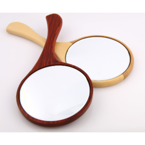 Handheld Mirror is a highly collectible beauty make-up vanity hand mirror w/ large wooden curvy handle, fancy as a great gift